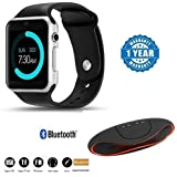 Captcha A1 Bluetooth Smart Watch With Camera And Apps Like Facebook, Whatsapp, QQ, WeChat, Twitter, Health, Pedometer, Sedentary Remind & Sleep Monitoring With Rugby Tf/Usb Portable Wireless Stereo Bluetooth Speaker Suitable With All Android Or Iphone