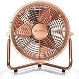 Brandson - L'Originale Macchina del Vento in stile retrò   Ventilatore da tavolo Compatto e molto potente   32W   3 Velocitá   Scocca ed eliche in METALLO  25 cm di diametro   Rame