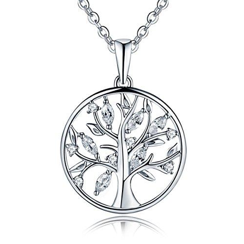 YL Damen Halskette Baum Des Lebens-925 Sterlingsilber Halskette mit AAA Zirkonia Familienstammbaum Anhänger für Damen Freundin, Kettenlänge 45-50 CM