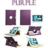 Moca(Tm) Leather 360 Swivel Case Cover For Samsung Galaxy Tab 10.1 Inch P7500 P7510 P750 Leather Stand Case Cover {Purple}