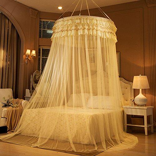 Extra große größe runde hoop bett baldachin netting moskitonetz passen krippe,Twin,Vollständige,Königin,König-beige 135x200cm(53x79inch) (Queen-baldachin Netting)