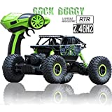 Rock Crawler 1:18 Scale 4WD 2.4 Ghz 4x4 Rally Car RC Monster Truck Kids Play Toys, Green