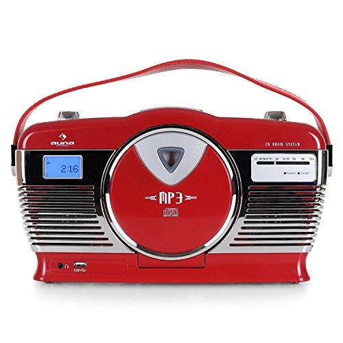 auna RCD-70 • Radio VHF • Design rétro • Look nostalgie • Port USB compatible MP3 • Lecteur CD / MP3 à chargement frontal • Lecture programmable • Lecture aléatoire • écran LCD • Sortie casque • Rouge