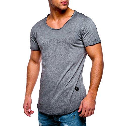 Herren Shirt, Casual Basic Einfarbige Rundhalsausschnitt Slim Fit Verschiedene Tee Kurzarm T-Shirt Sportswear Sweatshirt Tanktop (XXL, Grau)