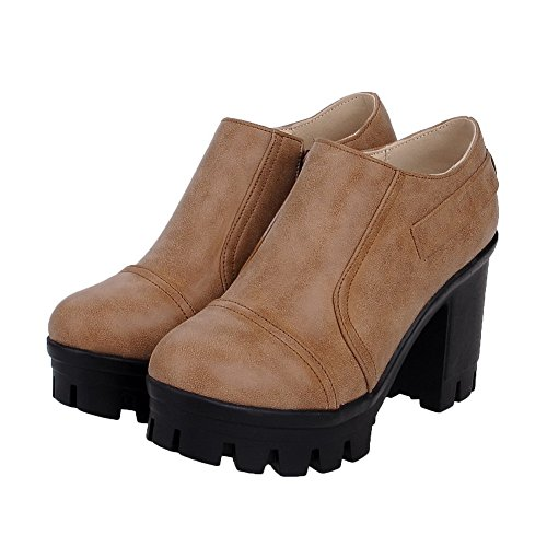 VogueZone009 Damen Pu Leder Rein Reißverschluss Rund Zehe Hoher Absatz Pumps Schuhe Khaki