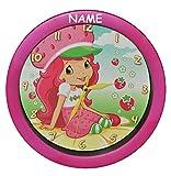 Unbekannt Wanduhr Emily Erdbeer incl. Name - 29 cm groß Uhr - für Kinderzimmer Kinderuhr - Analog Erdbeere Mädchen Frucht Puppe Blumen