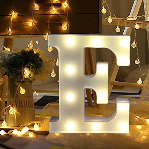 Romantische Vorschlag-Werkzeuge Lampe, Upxiang LED-Brieflichter (A-Z / & / →) Weißes stehendes Alphabet Buchstaben Licht hängendes Nachtlicht (E) ()