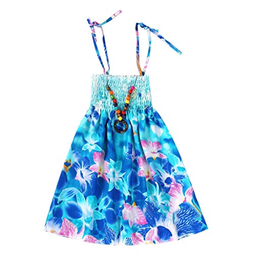 d Lila Rose Blume Doppelklicken Krawatte Party Kids Trägerkleid Säugling Kinder Mädchen Baby Kleidung Vestidos Floral Bohemian Beach Straps Dress ()