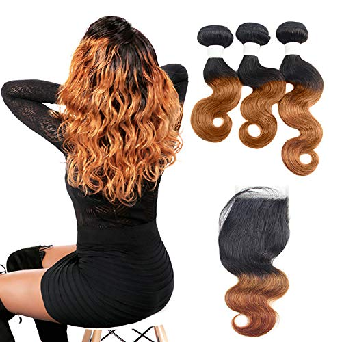 Ombre capelli umani con chiusura 3pcs body wave peruvian virgin hair bundles con chiusura 1pc 4 x 4 lace closure free part baby hair 1b30