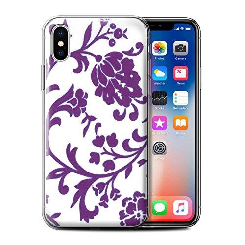 Stuff4 Gel TPU Hülle / Case für Apple iPhone X/10 / Pack (5 Pack) / Blumenmuster Kollektion Lila Blume