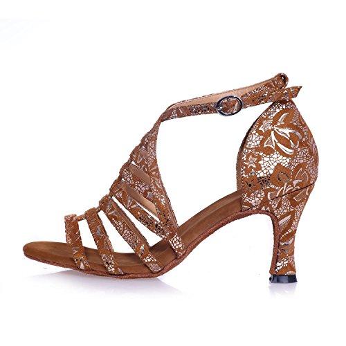 Donne Scarpe Da Ballo Latino/Raso Tacchi alti Nero/Marrone/argento Può Essere Personalizzato Brown