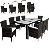 PolyRattan Sitzgruppe 8+1 Braun Gartenmöbel Lounge Sitzgarnitur Essgruppe ✔ stapelbare Stühle...