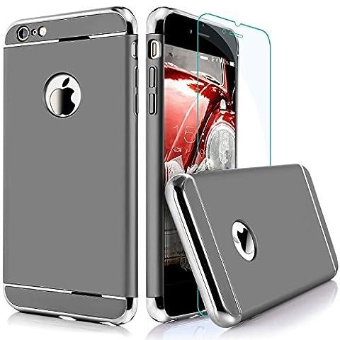 iPhone 6 6S Coque, Uiano® [3 en 1 Series] Non Slip Surface antichoc [Avec Verre Trempé] Electro Placage Texture Protector [dur] Skin pour Apple iPhone 6 iPhone 6S (4.7