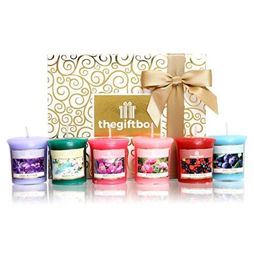 Lujo Vela aromática Set de regalo de la caja de regalo. Incluye 8diferentes con aroma velas y portavelas de cristal 3metálico (sungaze)