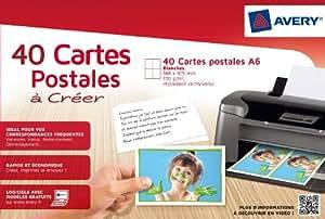 Avery 15153 40 Cartes «postales» A6 Blanc