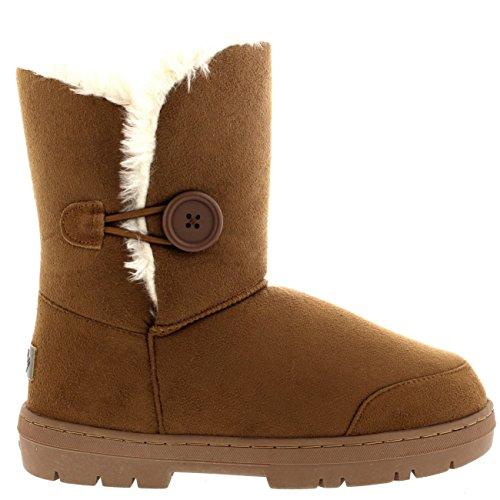 Damen Schuhe Twin Knopf Fell Schnee Regen Stiefel Winter fur Boots - Licht Tan, Gr.-37 EU, LTA37...