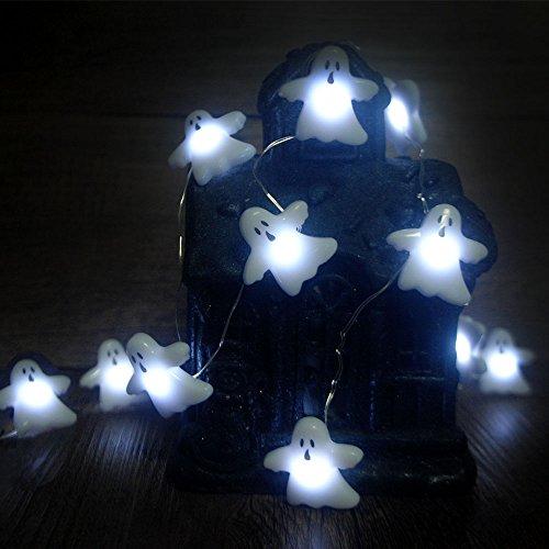 Halloween-Lichterketten, Christmas Weihnachten 10Ft (3M) 40 LEDs Batteriebetriebene Festbeleuchtung für Indoor, Außenbereich, Thanksgiving, Erntedankfest, Halloween, Partys (Großer Geist) - Christmas Schule Ornament