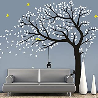 Rocwart Falling Tree Wall Sticker for Living Room Kids Baby Wall Decoration Removable Vinyl Family Tree Wall Decal Art Home Decoration 87x71,White+Black