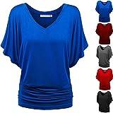 KEERADS Femmes Couleur Unie DéContractéE T-Shirt Tops Profond Col en V Manche Chauve-Souris en Vrac Confortable Chemisier Extensible Grande Taille