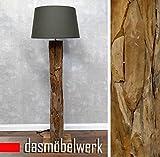 dasmöbelwerk XXL Stehlampe Leuchte massiv Teak Große Treibholz Lampe mit Schirm grau