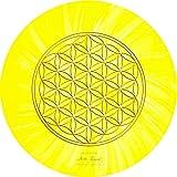 atalantes spirit - Blume des Lebens-Mauspad gelb - Ø 19 cm, rund - Energie-Untersetzer Solarplexus-Chakra - MousePad-Unterseite: Moosgummi, schwarz