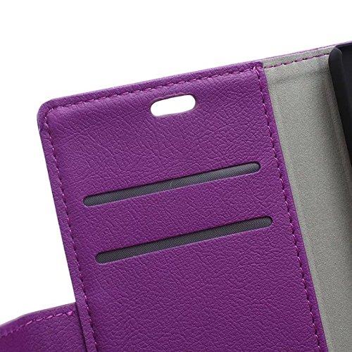 Solid Color Kas Textur Muster Leder Schutzhülle Case Horizontal Flip Stand Case mit Kartennuten für Huawei P8 LITE ( Color : Blue , Size : Huawei P8 LITE ) Purple