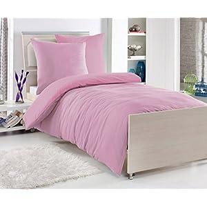 Renforcé 'EXKLUSIV' Baumwolle Bettwäsche 135 x 200 cm Uni Farben Reißverschluß, Farbe:Rosa