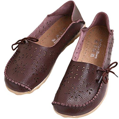 Vogstyle Mocassin Femme Casual Plat Tout-Match Chaussures Sandales Style 2 Café