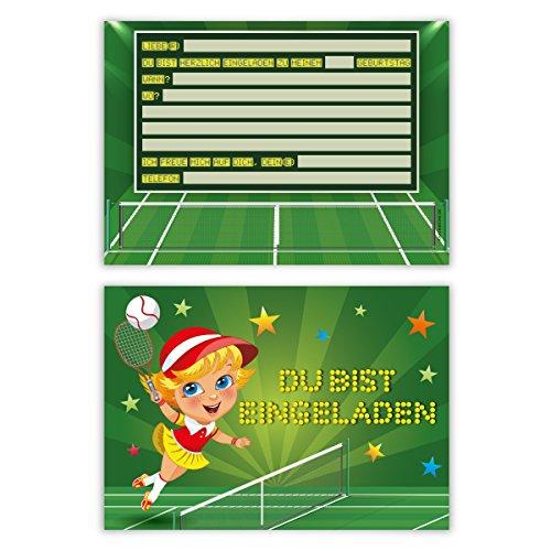 Einladungskarten Kindergeburtstag Jungen Mädchen 8 Stück Karten - Tennis