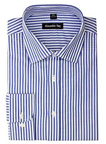Alexander Hay Mens Formal Cotton Regular Fit Navy Stripes, Checks, Black Stripes Dobby Design Long Sleeve Shirt B038