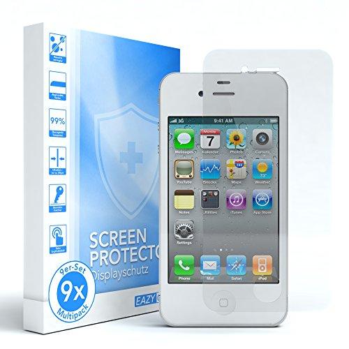 3x Apple iPhone 4S / 4 Schutzfolie, EAZY CASE Panzer Schutz Displayschutzfolie Premium Display Schutz Screen Protector 3D Touch Kompatible Retail-Verpackung (3er Pack) 9x Folie