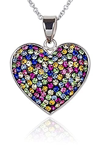 Carly Creations Women's Silver Plated Genuine Crystal MultiColored Heart Pendant by Carly Creations