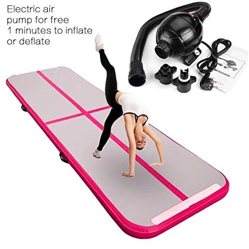 Aufblasbar Gymnastik Tumbling Matte Air Track Weichbodenmatte mit 800W Europlug Elektrisch Luftpumpe für Zuhause, Cheerleading, Strand, Park und Wasser-inklusive Steuer(118
