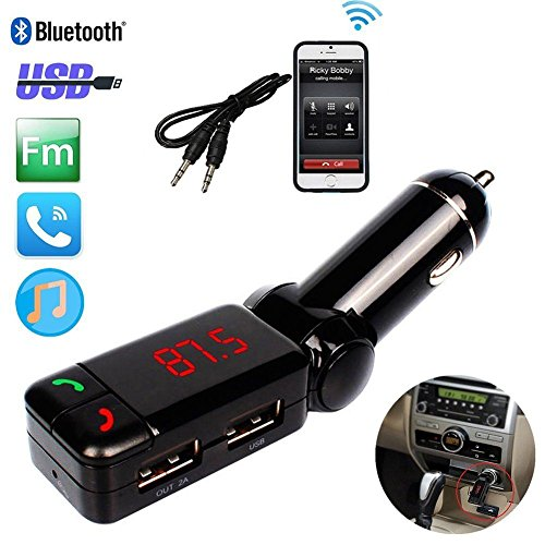 REALMAX Bluetooth MP3 Player Trasmettitore FM Kit vivavoce con doppio caricatore USB per iPhone HTC Samsung Blackberry Sony Nokia LG (Nero)