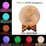 3d Moon Lamp Light Blanco/caliente dimmable LED Luz nocturna con USB Carga Principal decorativa y...