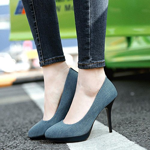COOLCEPT Damen Mode-Event Stiletto Hohe Ferse Pumps Demin Jeans Color Party Schuhe Dark Blue
