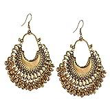 Tiaraz Fashion German Silver Beaded Chandbali Hook Earrings Jewellery for Women (Multi-colour 1)