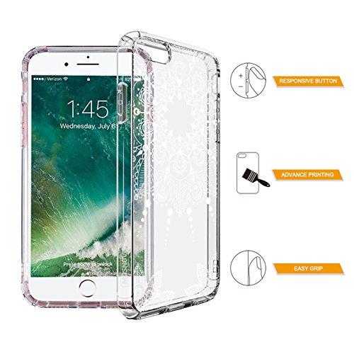 Coque iPhone 7, MOSNOVO Blanc Henné Mandala Fleur Coque iPhone 7 Transparente Rigide Motif Arrière avec TPU Bumper Gel Coque de Protection Pour iPhone 7 (4.7 Pouce) (Mandala Floral) White Henna