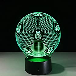 Ilusión 3D Luces Nocturnas, Real Madrid Fútbol Modern LED Mesa de Escritorio Lámparas 7 Colores Cambio de Touch Switch USB Carga de Iluminación Dormitorio Inicio Lámpara Decorativa