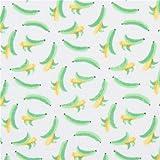 Grauweißer Stoff grüne gelbe Banane Fucht von Timeless