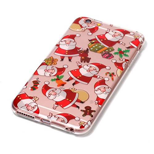 iPhone 6 / iPhone 6s Noël Coque Transparente Silicone Housse de Protection Mignonne Christmas Smartphone Coque Cover Cadeaux de Noël Etui Téléphone Portable Crystal Clear Souple TPU Anti choc Anti-ray Santa