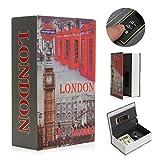 SAFETYON Caja Fuerte Libro Diseño Libro Diccionario Secreta Pequeña con Key Lock Multicolor Contraseña de Combinación de 3 Dígitos American Dream