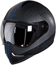 Steelbird SB-50 Adonis Zap Dashing Full Face Helmet Black with Blue (Large 600 MM, Plain Visor)