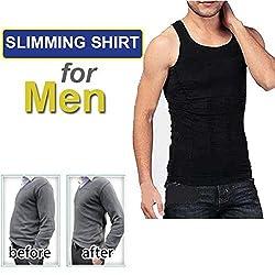 House of Quirk Mens Slim Vest Slim N Lift Innerware For Men-Black(L)