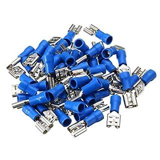 50pcs Flachsteckhülsen Isoliert Kabelschuhe Flachstecker 1.5-2.5mm²