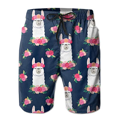 Mens Flowers Floral Lama Pattern Badehose Quick Dry Swimming Trucks für Herren Big und Tall Beach Shorts - And Big Tall Männer-bademode