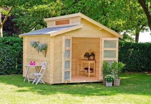 Outdoor Gartenhaus / Stufendachhaus Benno 3 Sockelmaß: 280 x 280 cm Dachstand: 320 x 316 cm Wandstärke: 34 mm Rauminhalt: 17,70 cbm Ausführung: naturbelassen Material:...