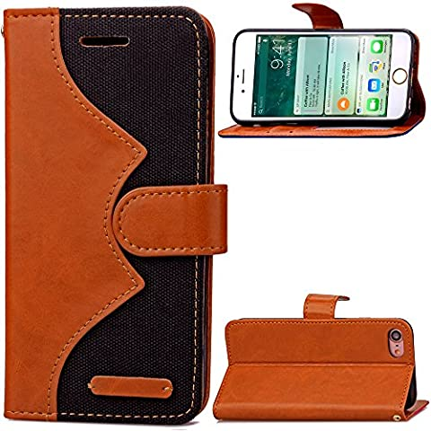 iPhone 7 Plus Custodia in Pelle,iPhone 7 Plus Cover Portafoglio,Cozy Hut ® Cowboy ondulato Disegni Leather / PU Flip Wallet Libro Bookstyle Con Chiusura Magnetica Slim Sottile Shockproof / Anti Resistenza Protettiva Supporto Case Cover Bumper per Apple iPhone 7 Plus - nero
