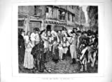 Antique Print of 1878 Street Scene Reading Decree Brittany France