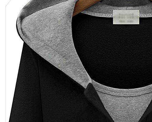 Femme Sweatshirt à Capuche Manches Longues Sweat Pull Tunique Jumper Hooded Blouse Tops Noir